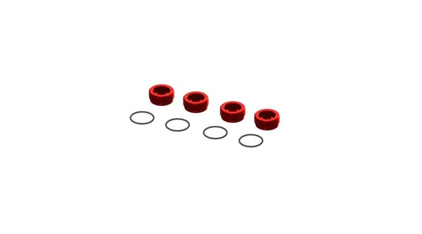 Aluminum Front Hub Nut Red (4) with O-Rings (ARA320467)